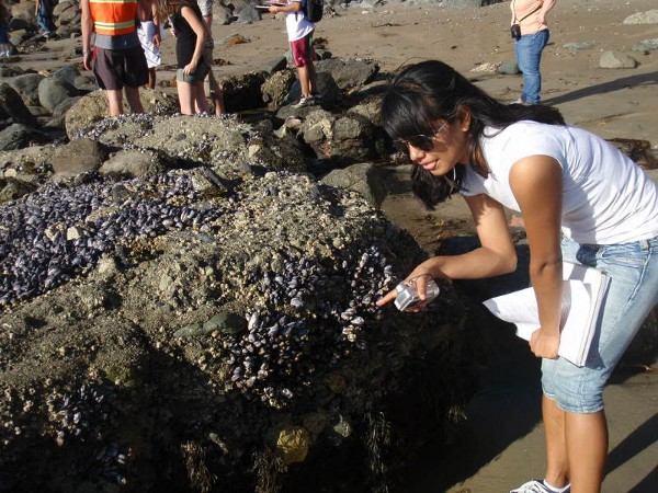 Cristal observing mussels for her biology lab. Circa 2008.